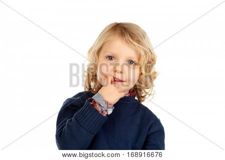 Small blond child with four years isolated on a white background