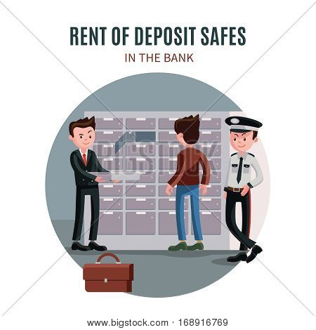 Colorful bank template with worker security officer and client taking money from deposit box in vault room vector illustration