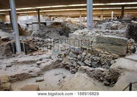Archaeological excavati/on of the Akrotiri flat, ancient Minoan town. Akrotiri Greece