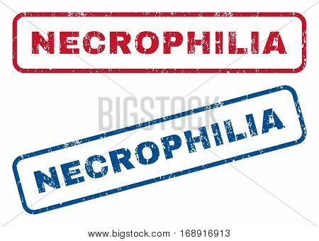 Necrophilia text rubber seal stamp watermarks. Vector style is blue and red ink caption inside rounded rectangular banner. Grunge design and scratched texture. Blue and red stickers.