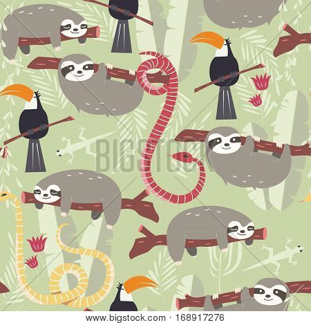 Seamless pattern with cute rain forest animals toucan snake sloth vector illustration