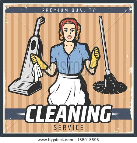 Vintage cleaning poster with maid in gloves hoover mop and duster on striped background vector illustration