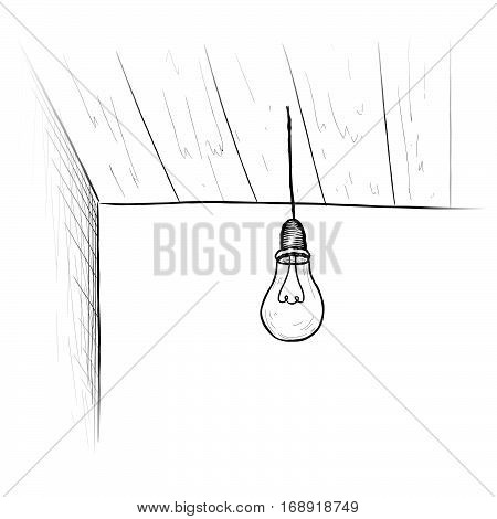 Bulb background. Minimalistic room interior with ceiling lamp. Doodle line sketch illustration