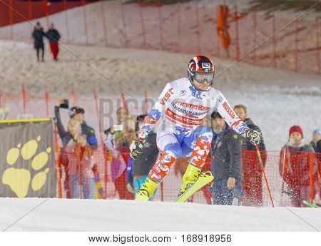 STOCKHOLM SWEDEN - JAN 31 2017: Aleksander Khorosholv (RUS) jumping in the parallel slalom alpine ski event Audi FIS Ski World Cup. January 31 2017 Stockholm Sweden
