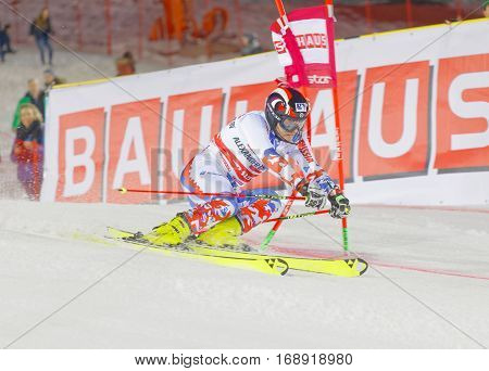 STOCKHOLM SWEDEN - JAN 31 2017: Aleksander Khorosholv (RUS) fighting in the parallel slalom alpine ski event Audi FIS Ski World Cup. January 31 2017 Stockholm Sweden