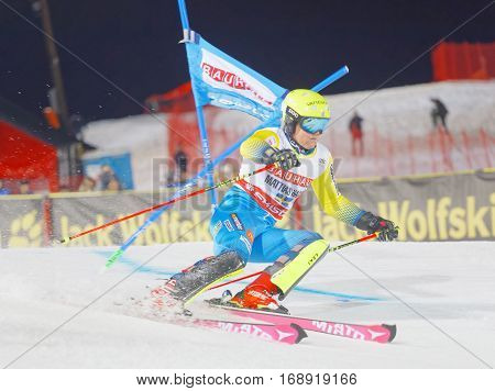 STOCKHOLM SWEDEN - JAN 31 2017: Mattias Hargin (SWE) downhill skiing in the parallel slalom alpine event Audi FIS Ski World Cup. January 31 2017 Stockholm Sweden