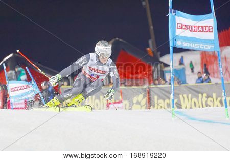 STOCKHOLM SWEDEN - JAN 31 2017: Julien Lizeroux (FRA) fighting in the downhill skiing in the parallel slalom alpine event Audi FIS Ski World Cup. January 31 2017 Stockholm Sweden