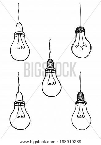 Lamp Bulb Collection. Light Icon Set. Hand Drawn Sketch Illustration