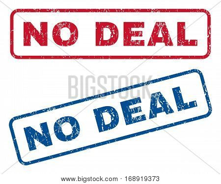 No Deal text rubber seal stamp watermarks. Vector style is blue and red ink tag inside rounded rectangular shape. Grunge design and dust texture. Blue and red signs.