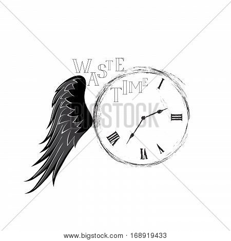 Waste Time Sign Concept. Doodle Retro Watch Dial With Wing, Dama