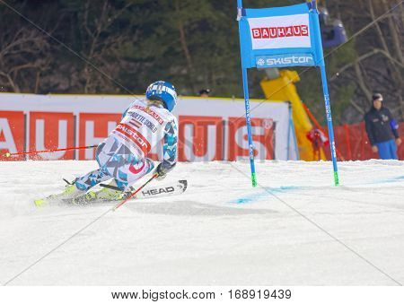 STOCKHOLM SWEDEN - JAN 31 2017: Rear view of Bernadette Schild (AUT) in the parallel slalom downhill skiing at the Alpine Audi FIS Ski World Cup - city event January 31 2017 Stockholm Sweden