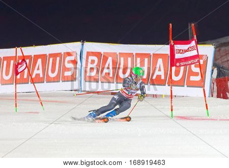 STOCKHOLM SWEDEN - JAN 31 2017: Chiara Costazza (ITA) in the parallel slalom downhill skiing at the Alpine Audi FIS Ski World Cup event. January 31 2017 Stockholm Sweden