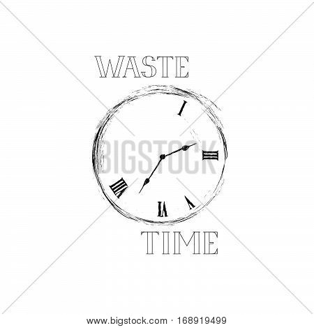 Waste time sign concept. Doodle retro watch dial with damaged numbers. Lose time stylish emblem