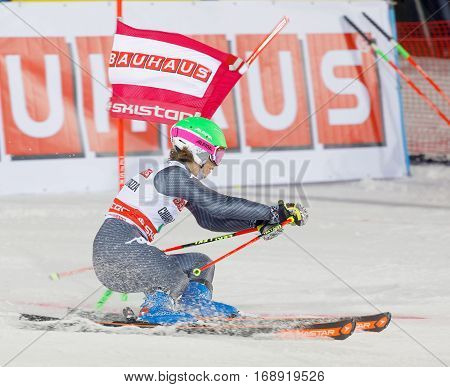STOCKHOLM SWEDEN - JAN 31 2017: Side view of Chiara Costazza (ITA) in the parallel slalom downhill skiing at the Alpine Audi FIS Ski World Cup event. January 31 2017 Stockholm Sweden