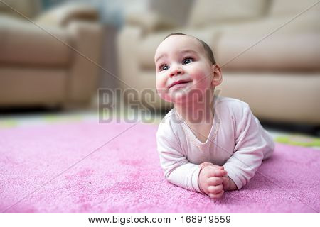 Sweet Baby Crawling On Carpet And Smiling