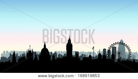 London city buildings silhouette over morning sky. English urban landscape. London cityscape with landmarks. Travel Untied Kingdom skyline background.