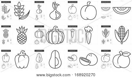 Healthy food vector line icon set isolated on white background. Healthy food line icon set for infographic, website or app. Scalable icon designed on a grid system.
