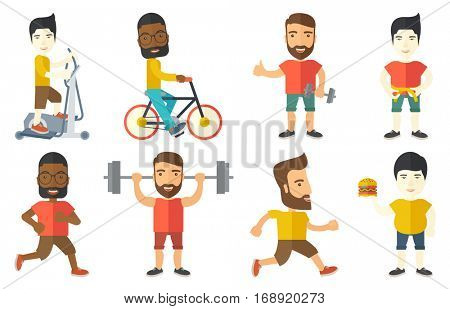 Young sportsman running. Happy male runner jogging. Full length of smiling male athlete running. Sportsman in sportswear running. Set of vector flat design illustrations isolated on white background.