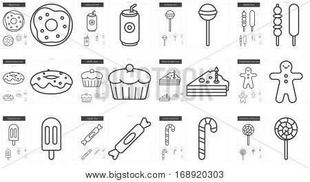 Junk food vector line icon set isolated on white background. Junk food line icon set for infographic, website or app. Scalable icon designed on a grid system.