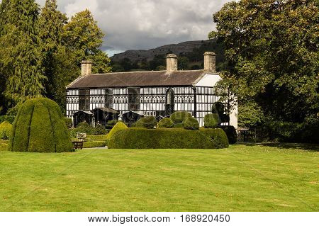 LLANGOLLEN WALES UK - OCTOBER 9 2016: Plas Newydd the ornate home of Sarah Ponsonby and Eleanor Charlotte Butler known as The Ladies of Llangollen who lived there from 1780 to 1831