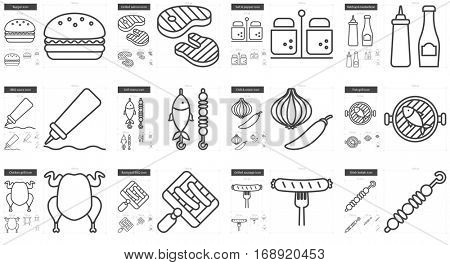 Barbecue vector line icon set isolated on white background. Barbecue line icon set for infographic, website or app. Scalable icon designed on a grid system.