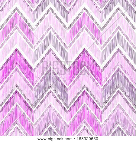 Abstract geometric tiled pattern. Fabric doodle line ornament. Linear zig zag texture. Seamless ornamental zigzag background