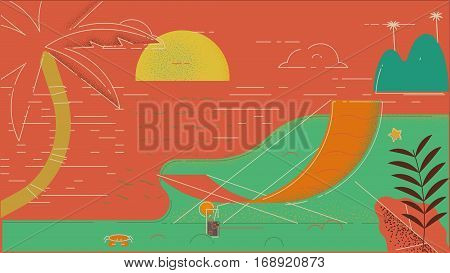 Summer beach in flat design sea side and beach items illustration
