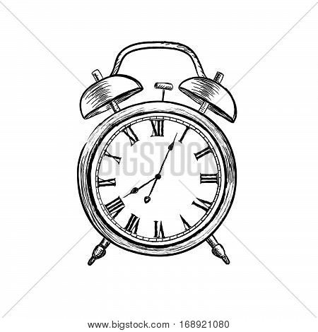 Retro watch doodle line illustration. Watch dial icon isolated on white background. Alarm clock in vintage style