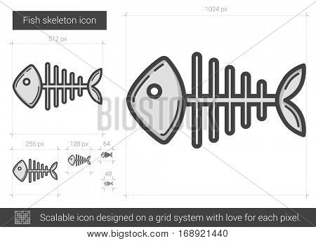 Fish skeleton vector line icon isolated on white background. Fish skeleton line icon for infographic, website or app. Scalable icon designed on a grid system.