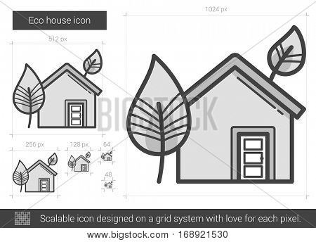 Eco house vector line icon isolated on white background. Eco house line icon for infographic, website or app. Scalable icon designed on a grid system.