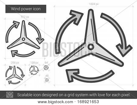 Wind power vector line icon isolated on white background. Wind power line icon for infographic, website or app. Scalable icon designed on a grid system.