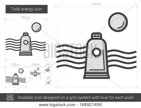 Tidal energy vector line icon isolated on white background. Tidal energy line icon for infographic, website or app. Scalable icon designed on a grid system.