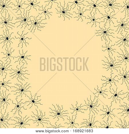 Frame with small spiders in black on yellow background. Stock vector illustration for greeting card template halloween decoration child birthday invitation.