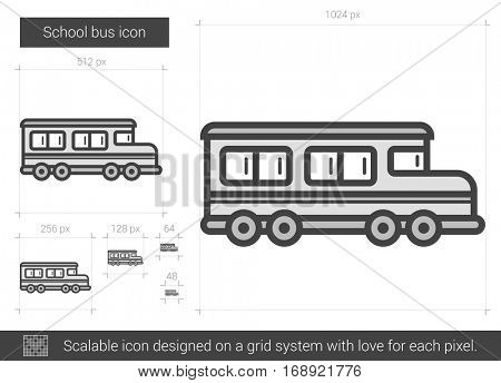 School bus vector line icon isolated on white background. School bus line icon for infographic, website or app. Scalable icon designed on a grid system.
