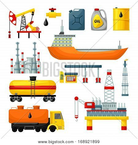 Oil industry icons collection with drilling rig tanker truck platform factory cans barrel gas station isolated vector illustration