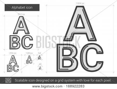 Alphabet vector line icon isolated on white background. Alphabet line icon for infographic, website or app. Scalable icon designed on a grid system.