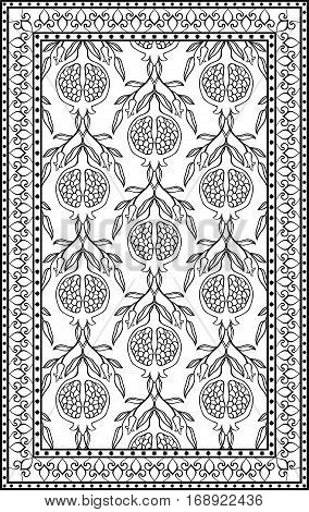 Black and white floral pattern. Vector ornament with pomegranate. Stylized template for carpet textile linen bedspread shawl and any surface.