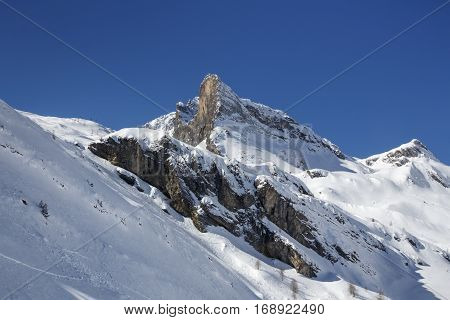 Mountainside of the Hintertuxer Glacier (Tuxer Ferner) in Tyrol Austria