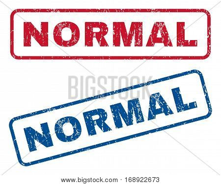 Normal text rubber seal stamp watermarks. Vector style is blue and red ink caption inside rounded rectangular shape. Grunge design and dirty texture. Blue and red emblems.