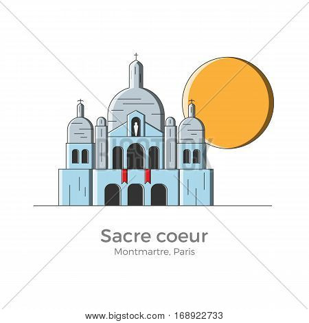 Sacre Coeur basilica vector illustration in simple flat style with thin lines. Sightseeing of Montmartre district, Paris, France. Can be used for maps and guides, touristic information.