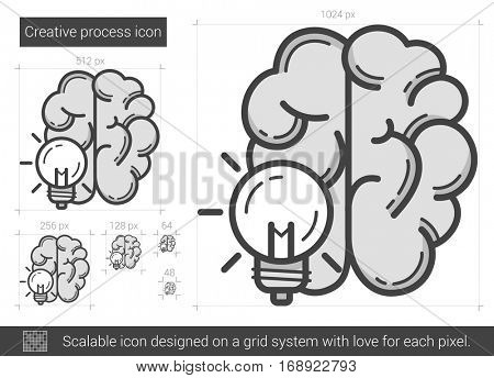 Creative process vector line icon isolated on white background. Creative process line icon for infographic, website or app. Scalable icon designed on a grid system.