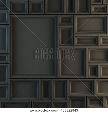 Blank template layout mockup of empty black frames. 3d render illustration. Copy space to place your photo, picture or logo.