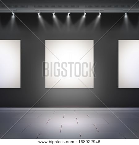 Blank template layout mockup of empty white frames in museum hall. 3d render illustration. Copy space to place your photo, picture or logo.