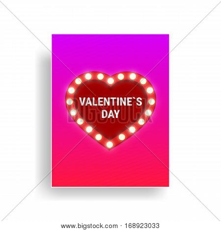 Valentines Day greeting card with shiny light fluorescent heart and typography