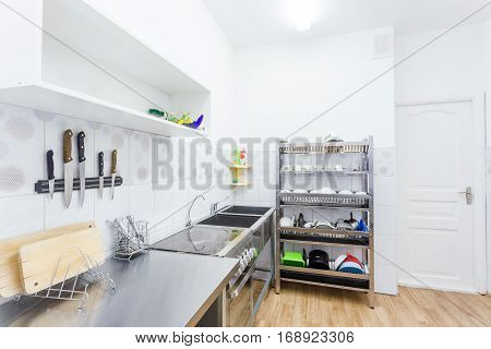 Light Compact Kitchen Interior in the Kindergarten