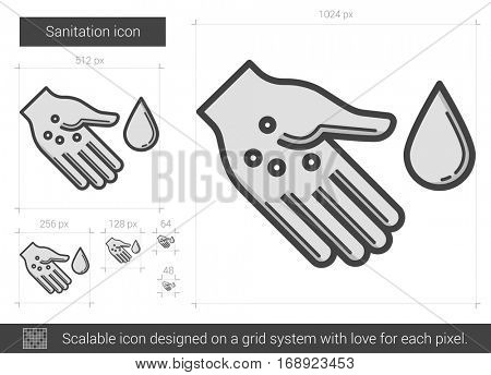 Sanitation vector line icon isolated on white background. Sanitation line icon for infographic, website or app. Scalable icon designed on a grid system.