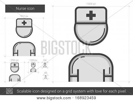 Nurse vector line icon isolated on white background. Nurse line icon for infographic, website or app. Scalable icon designed on a grid system.