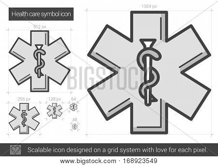 Health care symbol vector line icon isolated on white background. Health care symbol line icon for infographic, website or app. Scalable icon designed on a grid system.