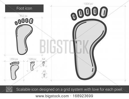 Foot vector line icon isolated on white background. Foot line icon for infographic, website or app. Scalable icon designed on a grid system.