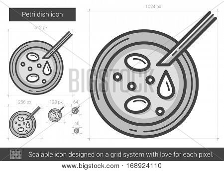 Petri dish vector line icon isolated on white background. Petri dish line icon for infographic, website or app. Scalable icon designed on a grid system.
